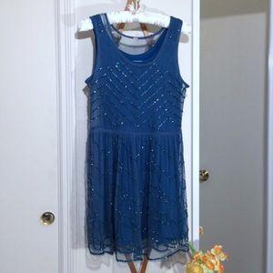 FREE PEOPLE Blue Beaded Midi Dress Size Medium